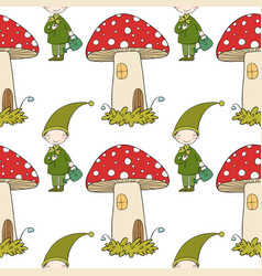 Pattern with cute elves and a mushroom house vector