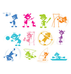 playing cartoon children vector image