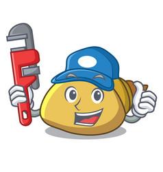 Plumber mollusk shell mascot cartoon vector