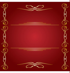 Red background with golden decorations vector