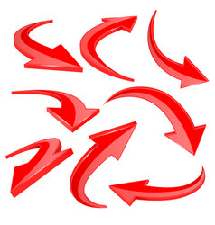 Red shiny 3d arrows curved signs vector
