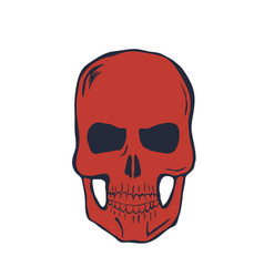 red skull on white background vector image