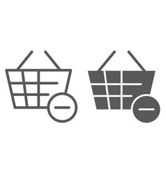 Remove from bucket line and glyph icon shopping vector