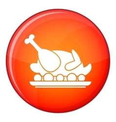 Roasted turkey icon flat style vector