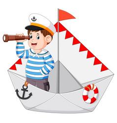 Sailor is holding binoculars vector