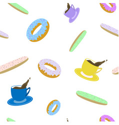 Seamless pattern of cup of coffee eclair and vector
