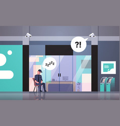 Security guard man sleeping at workplace entrance vector