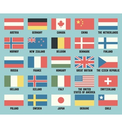 set flags different countries vector image