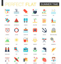 set flat summer time icons vector image