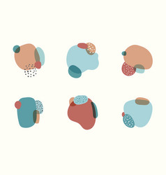 Set of label element abstract organic shapes vector