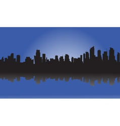 Silhouette of city and light vector