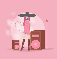 singer flat style singing into the vector image