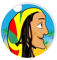 Smiling rastafarian looking forward vector