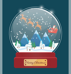 snow globe with santa and snowy mountain vector image