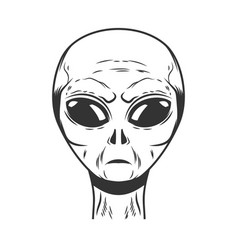 space alien head on white background design vector image