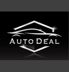 sports car silhouette dealer logo vector image