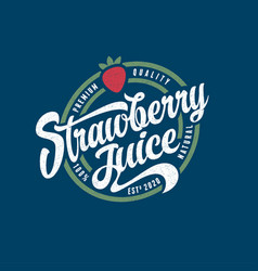 Strawberry juice label vintage letters with curls vector