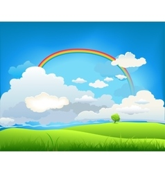 Summer landscape with a rainbow vector