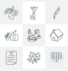 thanksgiving icons line style set with origami vector image