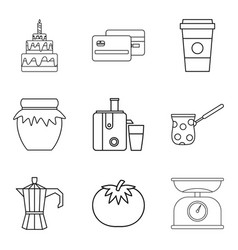 Topping icons set outline style vector