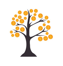 tree with coins icon vector image
