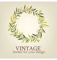 Vintage branch with leaves for decoration greeting vector