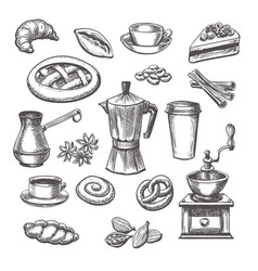 vintage desserts and coffee sketch vector image