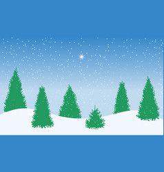winter snowy woodland landscape with falling snow vector image