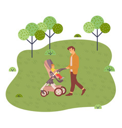 young father rolls stroller with a bain the vector image