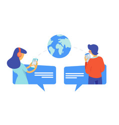 young people chatting global information vector image