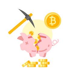 broken piggy bank with golden bitcoins vector image