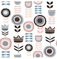 seamless pattern with decorative flowers in vector image vector image