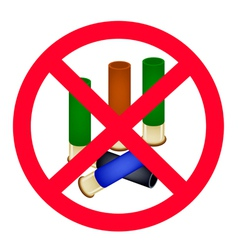 Stack of Bullets and The Forbidden Sign vector image vector image