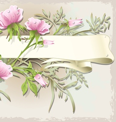 Vintage Flower Ornament with Banner vector image vector image