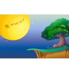 a moon and a tree vector image vector image
