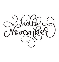 hello november hand drawn text calligraphy vector image vector image