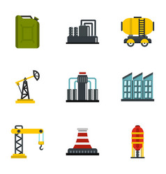 oil and energy resources icons set flat style vector image vector image