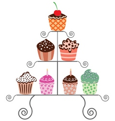 vector set of various cupcakes on a stand vector image vector image
