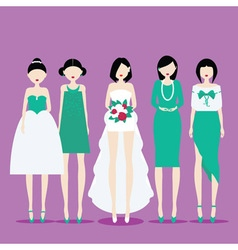 Bride with Bridesmaids vector image