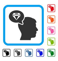 diamond thinking framed icon vector image
