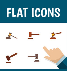 flat icon lawyer set of court legal justice and vector image vector image