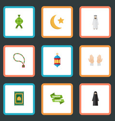 flat icons prayer carpet bead new lunar and vector image