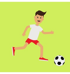 Funny cartoon running guy with soccer ball vector image