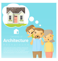 happy family and dream house background vector image vector image