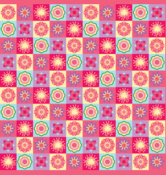 seamless pattern with funny cartoon flowers and vector image