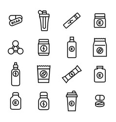 sport supplements black thin line icon set vector image vector image