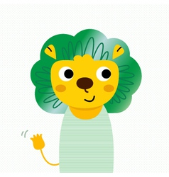 Cute beautiful cartoon lion isolated on dotted vector image