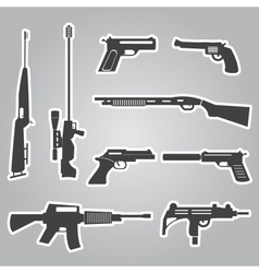 Firearms weapons and guns black stickers eps10 vector