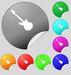 Guitar icon sign Set of eight multi colored round vector image