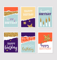 Set of birthday greeting cards with gold glitter vector